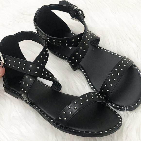 Shoes - Black studded cross sandals
